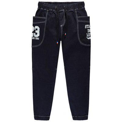 Buy PURPLISH BLUE 23 Print Plus Size Drawstring Tapered Jeans for $44.22 in GearBest store