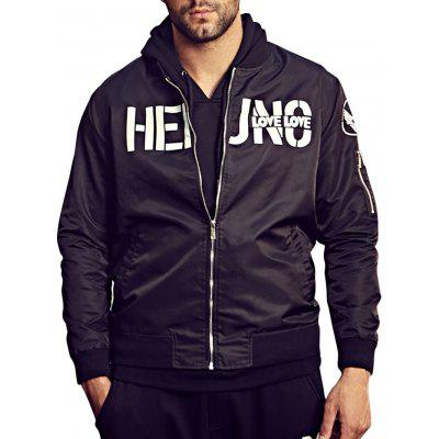 Buy BLACK Graphic Bomber Jacket with Pocket Detail for $63.58 in GearBest store