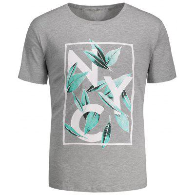 Buy GRAY M Leaves Print Graphic Tee for $19.05 in GearBest store