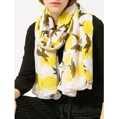Lemon Pattern Cotton Blended Shawl Scarf