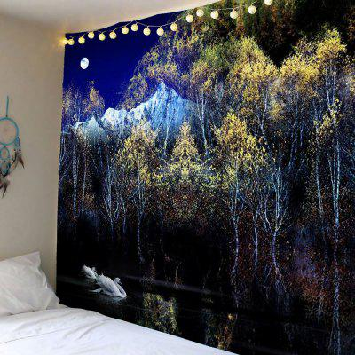 Swan Moon Tree Wall Hanging Tapestry