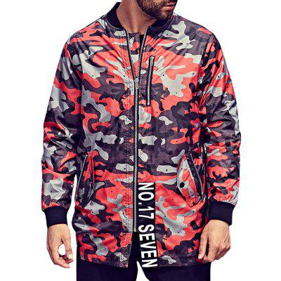 Plus Size Zipper Pocket Camo Jacket
