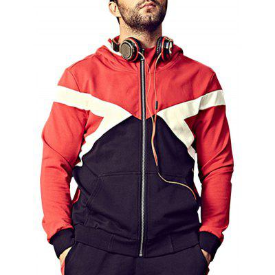 Plus Size Color Block Hooded Bomber Jacket