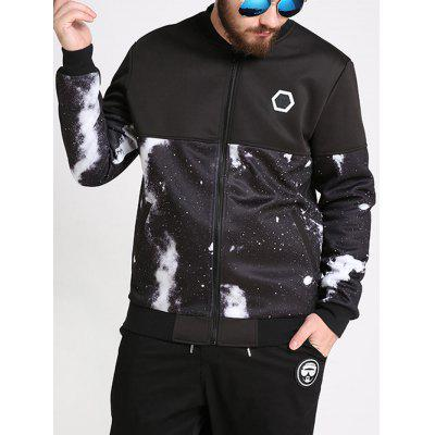 Plus Size Galaxy Print Bomber Jacket