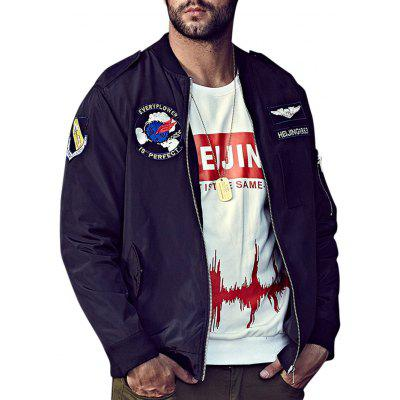 Buy BLACK 3XL Plus Size Embroidery Graphic Bomber Jacket for $61.19 in GearBest store