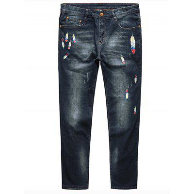 Buy DEEP BLUE 4XL Feather Embroidery Plus Size Straight Jeans for $45.78 in GearBest store
