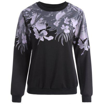 Floral Faux Leather Insert Sweatshirt