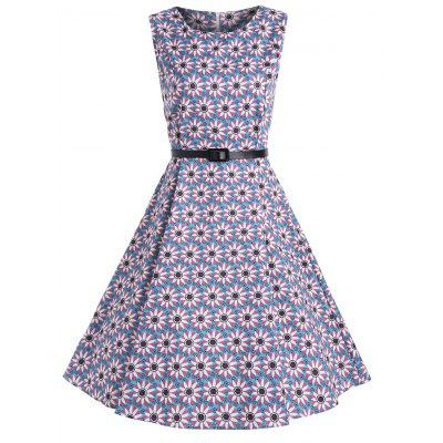Buy BLUE L A Line Floral Print Vintage Belted Dress for $24.23 in GearBest store