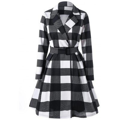 Notched Collar Plaid Skirt Coat