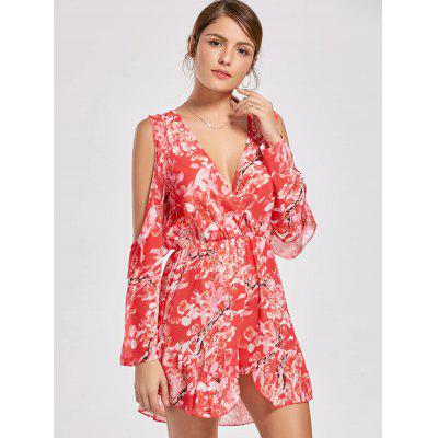 Ruffle Slit Sleeve Floral Low Cut RomperJumpsuits &amp; Rompers<br>Ruffle Slit Sleeve Floral Low Cut Romper<br><br>Fit Type: Regular<br>Material: Polyester<br>Package Contents: 1 x Romper<br>Pattern Type: Print<br>Season: Fall, Spring<br>Style: Fashion<br>Weight: 0.2300kg<br>With Belt: No