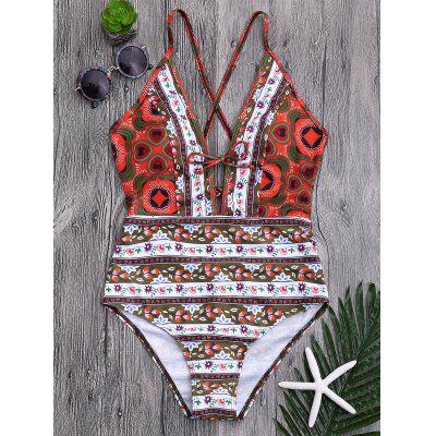 Tribal Print Floral Backless Swimsuit