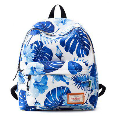 Buy BLUE AND WHITE Casual Printed Nylon Backpack for $21.81 in GearBest store