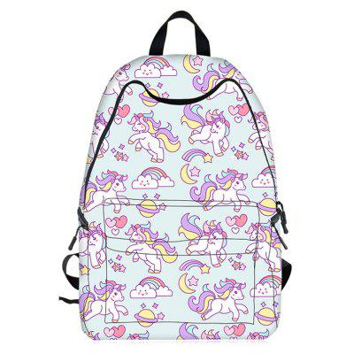 Buy LIGHT BLUE Cartoon Unicorn Print Backpack for $28.61 in GearBest store