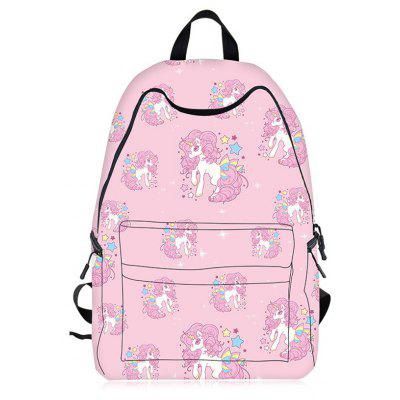 Buy PINK Cartoon Unicorn Print Backpack for $28.61 in GearBest store