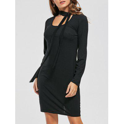 Long Sleeve Fitted Tied Dress