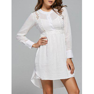 Lace Panel High Low Long Sleeve Dress