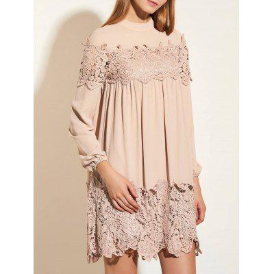 Cuff Sleeve Tunic Dress with Lace Trim