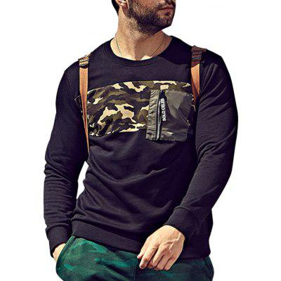 Plus Size Camo Panel Pocket Sweatshirt