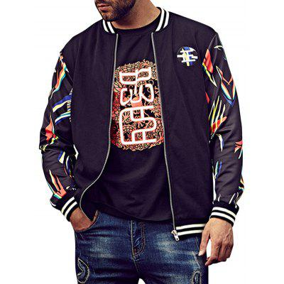 Plus Size Printed Patch Bomber Jacket