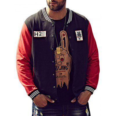 Plus Size Lion Print Baseball Jacket