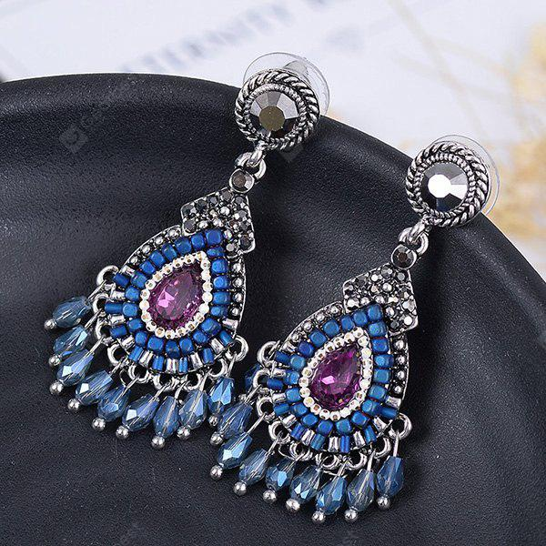 Bohemian Teardrop Fringed Faux Gem Drop Earrings