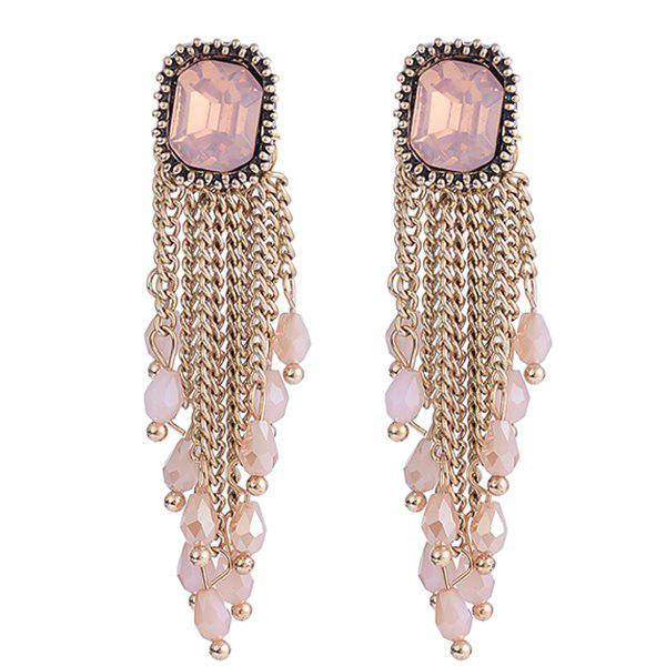 Square Faux Gem Link Chain Fringed Drop Earrings