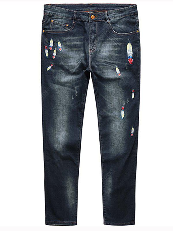 DEEP BLUE 6XL Feather Embroidery Plus Size Straight Jeans