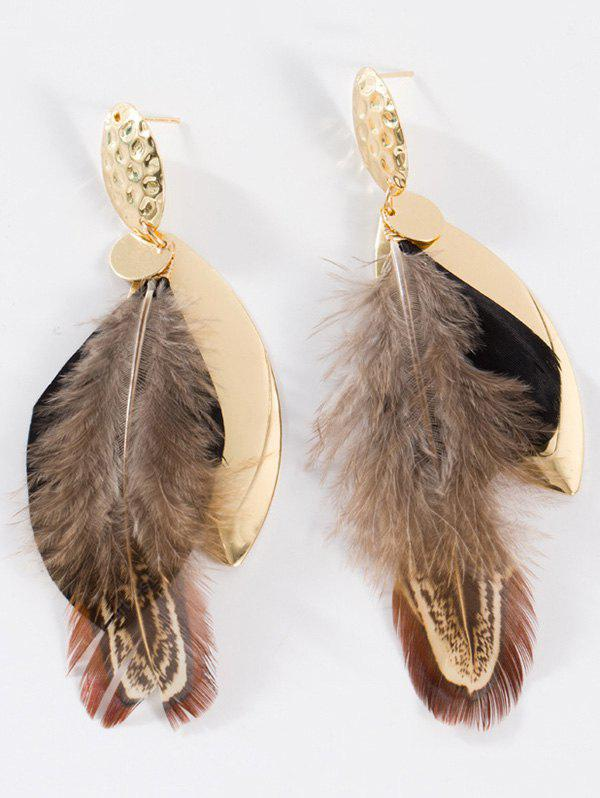 Feather Embellished Alloy Leaf Drop Earrings