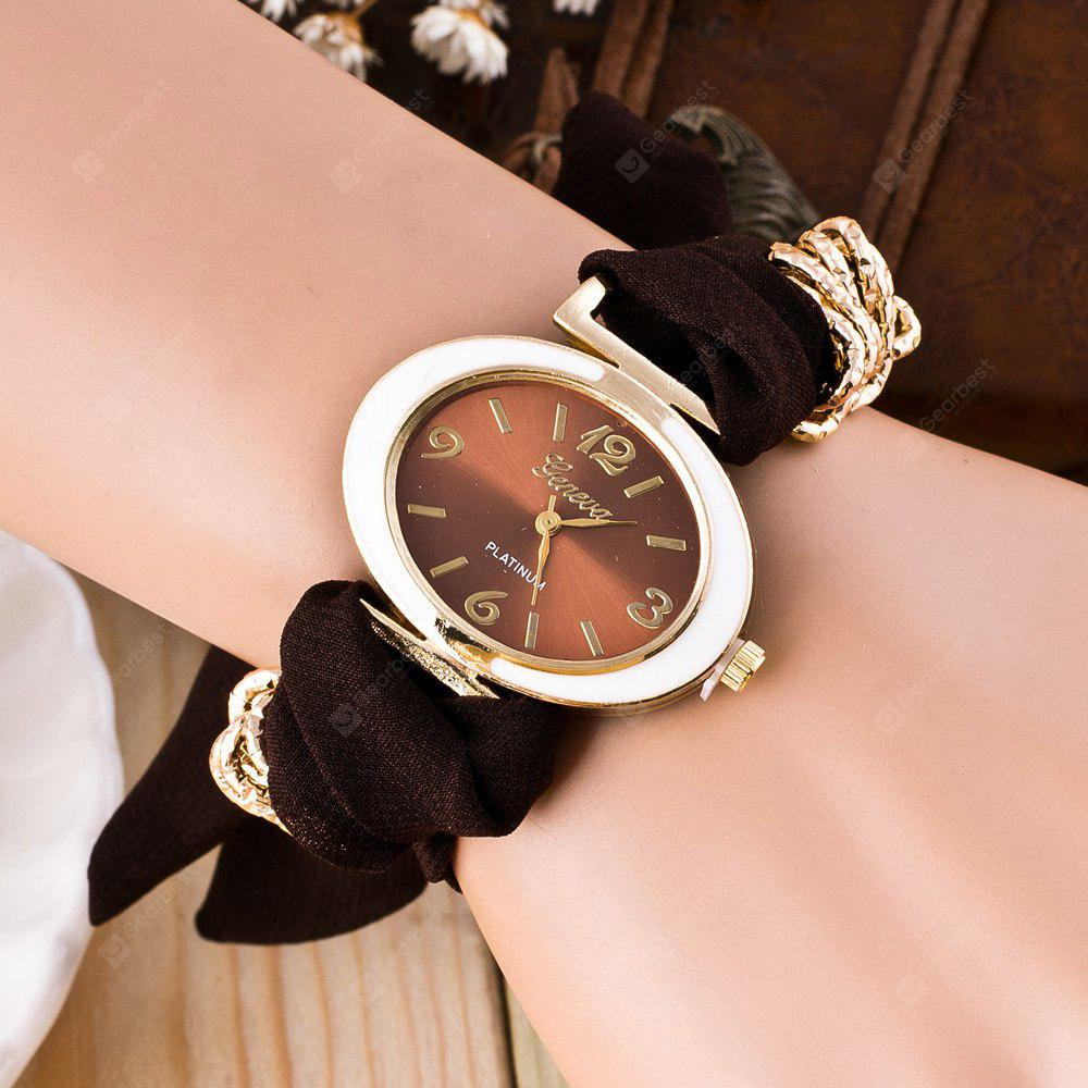 Oval Shape Cloth Bracelet Watch