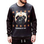 Dog Print Plus Size Sweatshirt - BLACK