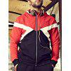 Buy Plus Size Color Block Hooded Bomber Jacket 5XL RED