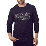 Floral Mesh Panel Plus Size Tee - BLACK