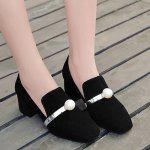 Block Heel Square Toe Faux Pearl Pumps - BLACK