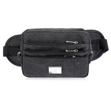 Multi Zips Canvas Waist Bag