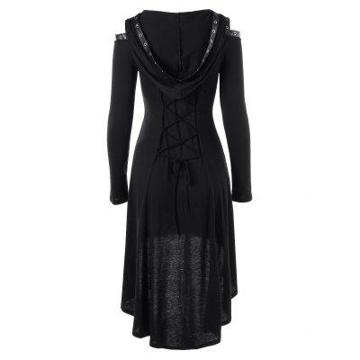 Lace Up Cold Shoulder Hooded DressLong Sleeve Dresses<br>Lace Up Cold Shoulder Hooded Dress<br><br>Dresses Length: Mid-Calf<br>Material: Rayon, Spandex<br>Neckline: Plunging Neck<br>Occasion: Casual, Club, Evening, Jersey, Going Out<br>Package Contents: 1 x Dress<br>Pattern Type: Solid Color<br>Season: Summer, Spring, Fall<br>Silhouette: A-Line<br>Sleeve Length: Long Sleeves<br>Style: Gothic<br>Weight: 0.4000kg<br>With Belt: No