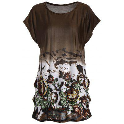 Ombre Floral Long Tunic T-shirt
