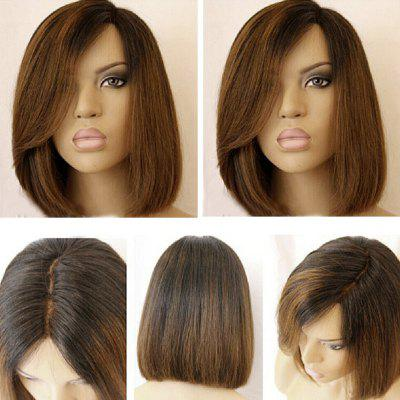 Buy BLACK AND BROWN Short Side Part Colormix Dark Root Straight Bob Synthetic Wig for $18.61 in GearBest store