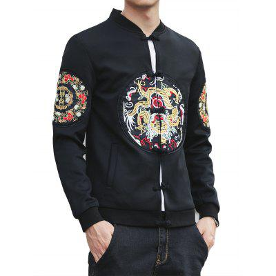 Stand Collar Chinoiserie Graphic Embroidered Jacket