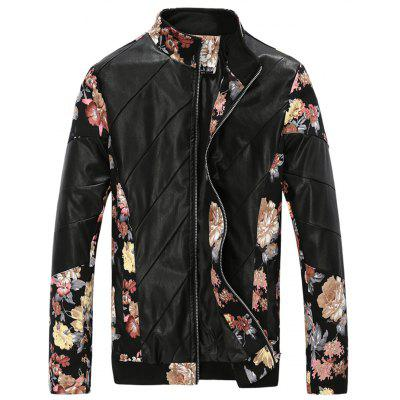 Stand Collar Flower Print Panel PU Leather Jacket