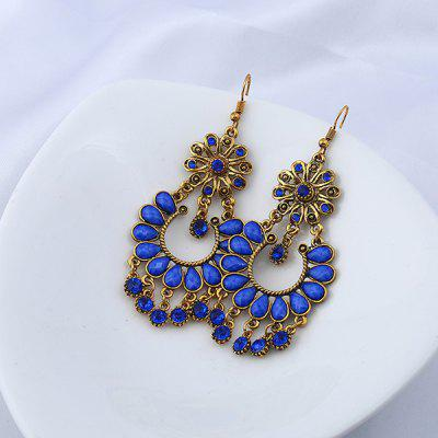 Rhinestone Teardrop Floral Chandelier Earrings