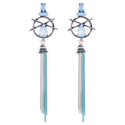 Hollow Out Teardrop Artificial Gem Fringed Earrings