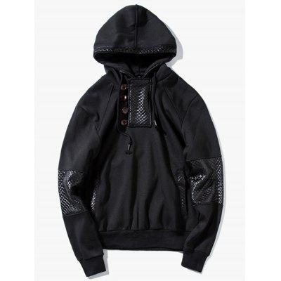 Faux Leather Panels Pullover Hoodie