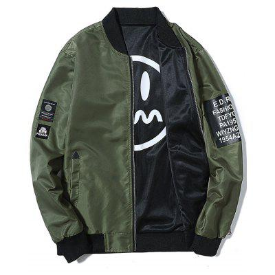 Zip Up Convertible Wear Printed Bomber Jacket