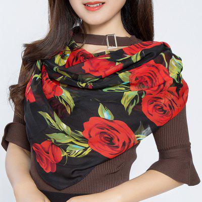 Chiffon Full Rose Leaf Print Square Scarf