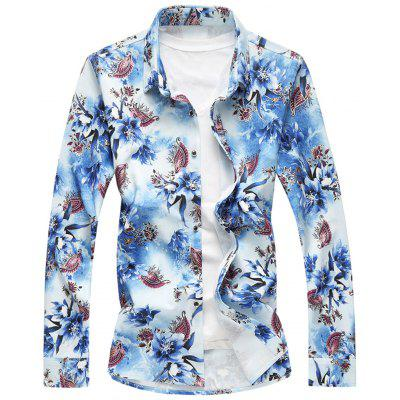 Long Sleeve Plus Size Floral Shirt