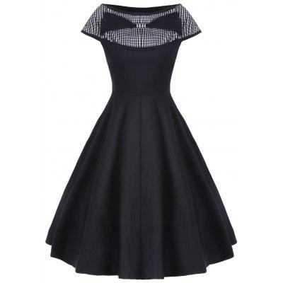 Buy BLACK XL Boat Neck Checked Bowknot Vintage Dress for $24.54 in GearBest store