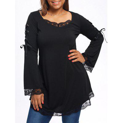 Plus Size Long Sleeve Lace Trim Tunic T-shirt ins princess girl clothings sets flare sleeve tops