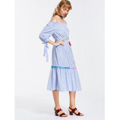 Off Shoulder Stripes Bow Sleeve Midi DressWomens Dresses<br>Off Shoulder Stripes Bow Sleeve Midi Dress<br><br>Dresses Length: Mid-Calf<br>Embellishment: Bowknot,Ruffles<br>Material: Cotton, Polyester<br>Neckline: Off The Shoulder<br>Occasion: Causal, Day, Going Out<br>Package Contents: 1 x Dress  1 x Belt<br>Pattern Type: Striped<br>Season: Summer, Spring, Fall<br>Silhouette: A-Line<br>Sleeve Length: 3/4 Length Sleeves<br>Style: Casual<br>Weight: 0.3400kg<br>With Belt: Yes