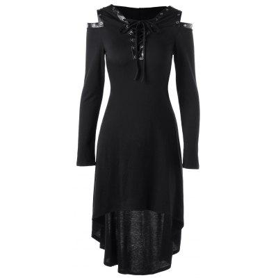 Buy BLACK Lace Up Cold Shoulder Hooded Dress for $26.57 in GearBest store