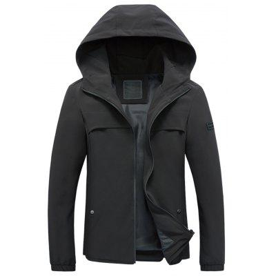 Hooded Drawstring Applique Zip Up Jacket